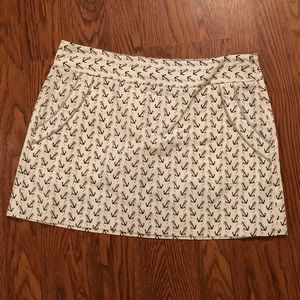 J. Crew | Off White Mini Skirt with Navy Anchors